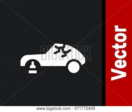 White Broken Car Icon Isolated On Black Background. Car Crush. Vector Illustration