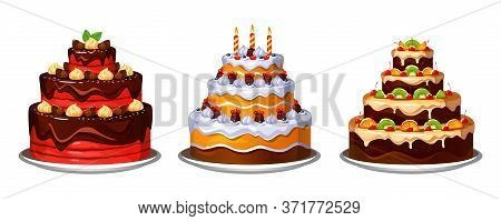Three Tier Delicious Homemade Cakes With Decor Vector Illustration. Chocolate And Fruits Cakes Flat