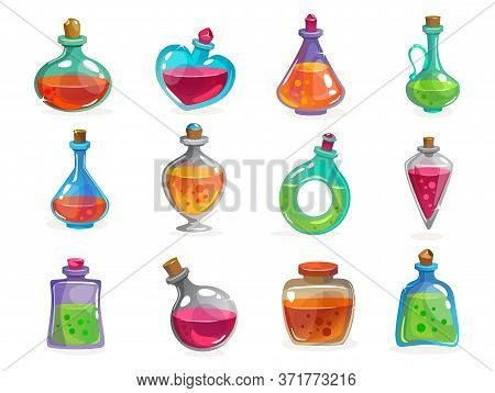Magic Bottles With Potion Set On White Background Vector Illustration. Collection Of Containers With