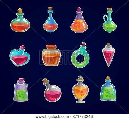 Magic Bottles Set With Elixir On Dark Background