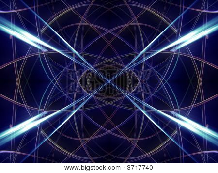 fantasy alien unknown mirrored dark abstract with blue rays poster