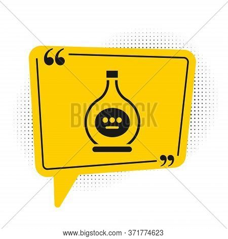 Black Bottle Of Cognac Or Brandy Icon Isolated On White Background. Yellow Speech Bubble Symbol. Vec