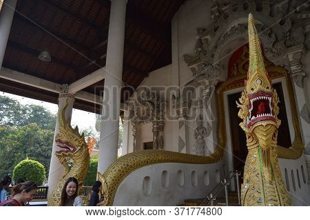 Chiang Mai Thailand-12 January 2020:wat Chedi Luang Temple,built During The Reign Of Phaya Saen Muea