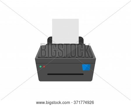 Printer Icon. Printout Machine With Paper Document. Laser Scanner And Printer. Ink Printing Device.