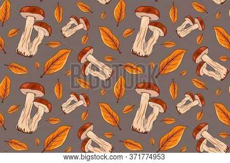 Autumn Seamless Pattern With Porcini Mushrooms And Autumn Leaves. Autumn Hand Drawn Pattern For Gift