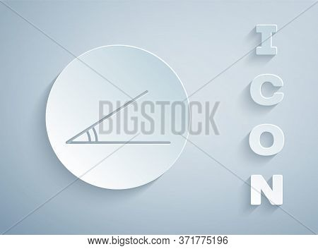 Paper Cut Acute Angle Of 45 Degrees Icon Isolated On Grey Background. Paper Art Style. Vector Illust