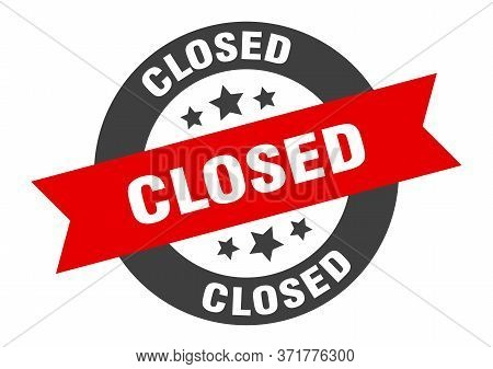 Closed Sign. Closed Black-red Round Ribbon Sticker