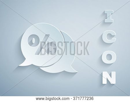 Paper Cut Discount Percent Tag Icon Isolated On Grey Background. Shopping Tag Sign. Special Offer Si