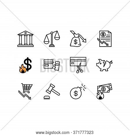 Bankruptcy Line Icons Set. Debt And Money Crisis Linear Icon Collection Includes Recession, Poverty,