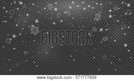 Falling Snow On Transparent Background. Snowfall Texture, Snowflakes Are Falling Down, Transparent O