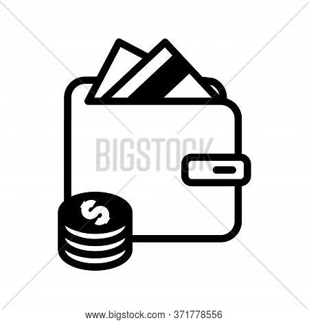 Wallet, Money In Purse Icon. Wallet And Dollar Coins Currency Simple Line Vector Icon. Pictogram Pur