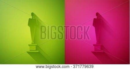 Paper Cut Movie Trophy Icon Isolated On Green And Pink Background. Academy Award Icon. Films And Cin