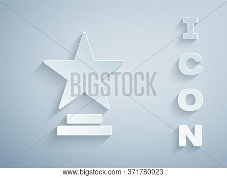 Paper Cut Movie Trophy Icon Isolated On Grey Background. Academy Award Icon. Films And Cinema Symbol