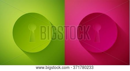 Paper Cut Keyhole Icon Isolated On Green And Pink Background. Key Of Success Solution. Keyhole Expre