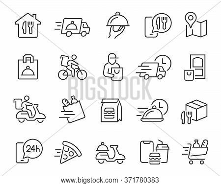 Food Delivery Icons Set. Collection Of Linear Simple Web Icons Such As Fast Delivery, Courier, Home