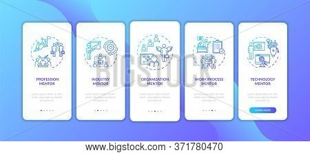 Professional Course Onboarding Mobile App Page Screen With Concepts. Organisation Management Walkthr