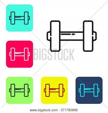 Black Line Dumbbell Icon Isolated On White Background. Muscle Lifting Icon, Fitness Barbell, Gym, Sp