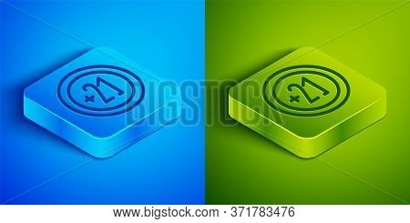 Isometric Line Alcohol 21 Plus Icon Isolated On Blue And Green Background. Prohibiting Alcohol Bever