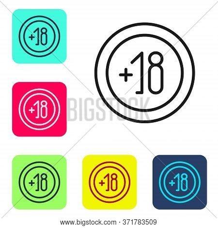 Black Line Alcohol 18 Plus Icon Isolated On White Background. Prohibiting Alcohol Beverages. Set Ico