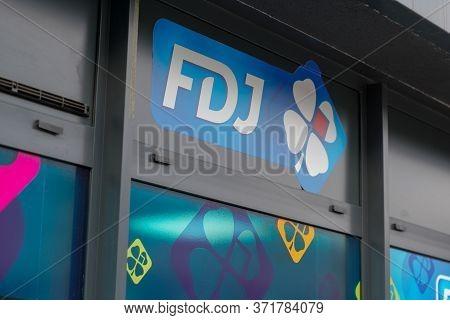 Bordeaux , Aquitaine / France - 10 23 2019 : Fdj Logo Store La Francaise Des Jeux Window Sign On Bui