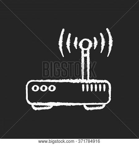 Gateway Chalk White Icon On Black Background. Tunnel Proxy Server, Wireless Internet Connection Acce