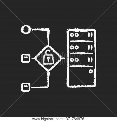 Open Proxy Chalk White Icon On Black Background. Public Vps Service, Internet Accessibility, Virtual