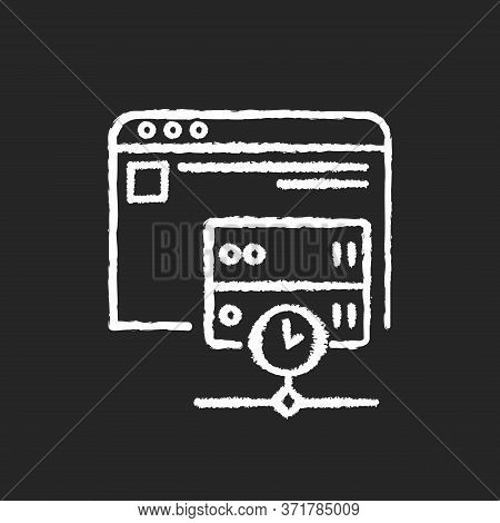 Caching Chalk White Icon On Black Background. Modern Internet Technology For User Convenience. Stori