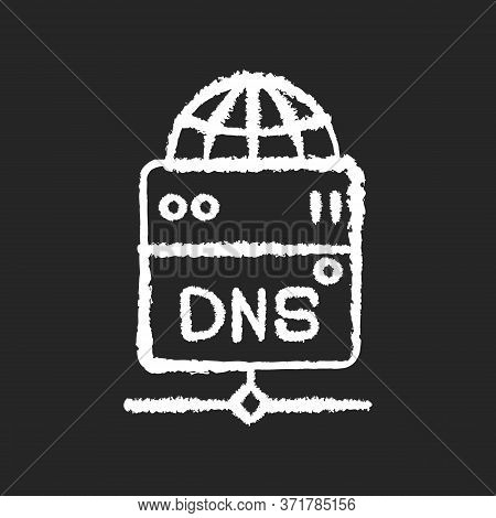 Dns Server Chalk White Icon On Black Background. Local Domain Name System, Transfering User Requests