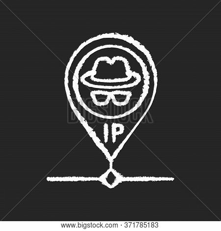 Hidden Ip Address Chalk White Icon On Black Background. Online Privacy And Anonymity, Internet Secur