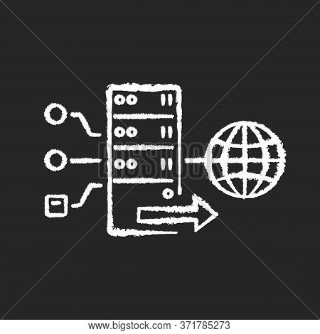 Forward Proxy Chalk White Icon On Black Background. Internet Accessibility And Firewall Bypassing. C