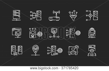 Proxy Server Chalk White Icons Set On Black Background. Internet Data Access, Virtual Connection, Cy