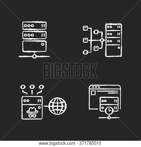 Internet Accessibility Chalk White Icons Set On Black Background. Secure Access, Protection Bypassin