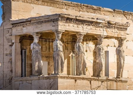 Erechtheion Temple With Caryatid Porch, Athens, Greece.