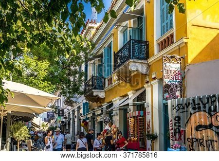 Athens, Greece - Oct 9, 2019 - Summer Street Scene At Athens  With Lots Tourists Enjoy Eating, Shopp