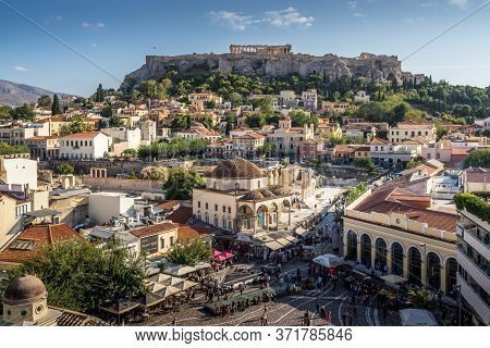 Athens, Greece - Oct 9, 2019 - The Popular Monastiraki Square And Ancient Acropolis Are The Must Go