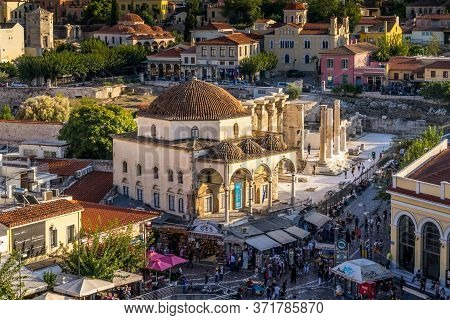 Athens, Greece - Oct 9, 2019 - The Popular Monastiraki Square Is The Must Go Places For Tourists In