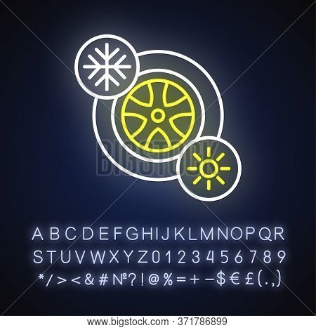 Seasonal Tyres Neon Light Icon. Safety Driving Rule. Outer Glowing Effect. Sign With Alphabet, Numbe