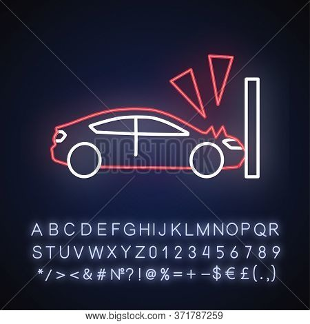 Crash Test Neon Light Icon. Traffic Accident, Car Wreck, Life Insurance. Outer Glowing Effect. Sign