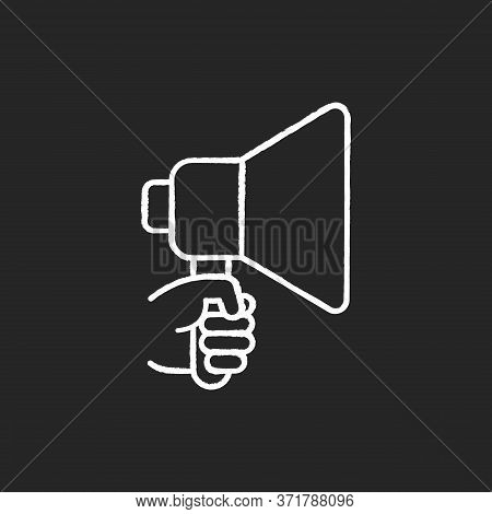 Hand With Megaphone Chalk White Icon On Black Background. Bullhorn For Announcement. Loud Speaker. P