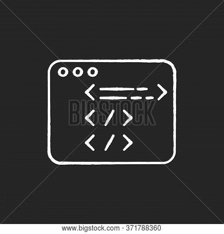 Website Development Chalk White Icon On Black Background. Open Source Code. Html Programming. Javasc