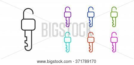Black Line Unlocked Key Icon Isolated On White Background. Set Icons Colorful. Vector Illustration