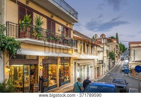 Delphi, Greece - Oct 11, 2019. Evening View Of Beautiful Street In The Town Of Delphi, Greece