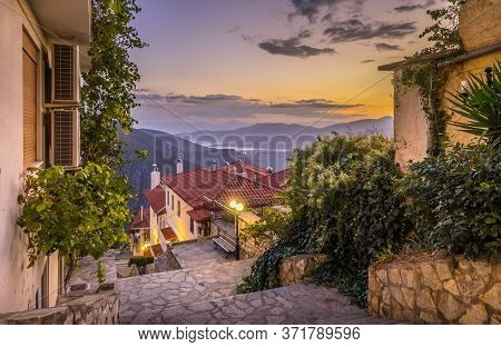 Evening View Of Quite Street In The Town Of Delphi, Greece