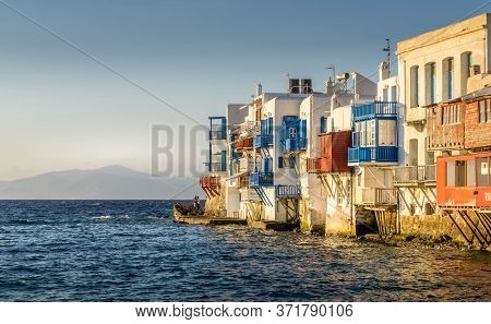 Mykonos, Greece - Oct 14, 2019.  Colorful Little Venice In Mykonos Island,  In Greece