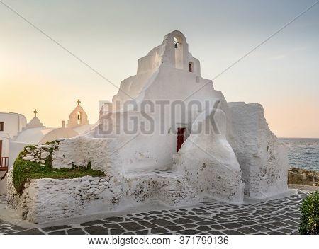 Famous Tourist Landmark Greek Orthodox Church Of Panagia Paraportiani In Town Of Chora On Mykonos Is