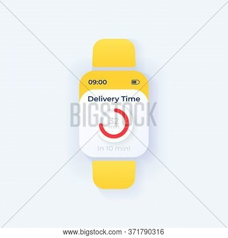 Order Arrival Timer Smartwatch Interface Vector Template. Mobile App Notification Light Mode Design.
