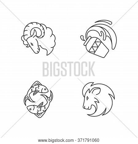 Horoscope Signs Pixel Perfect Linear Icons Set. Ram, Water Bearer, Lion And Fish Zodiac Customizable