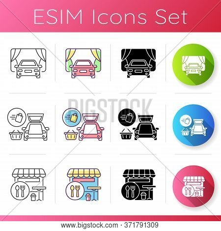 Shopping Mall Products And Services Icons Set. Curbside Pickup Delivery. Drive In Movie Theater. Foo