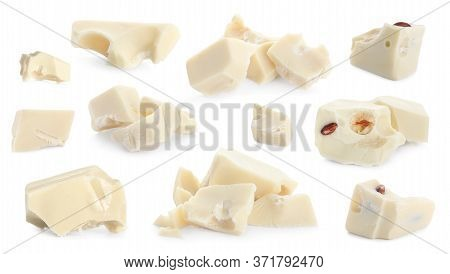 Set With Delicious Chocolate Chunks On White Background