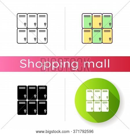 Shopping Mall Lockers Icon. Shop Storage For Personal Belongings. Closed Steel Boxes. Gym Locker Roo